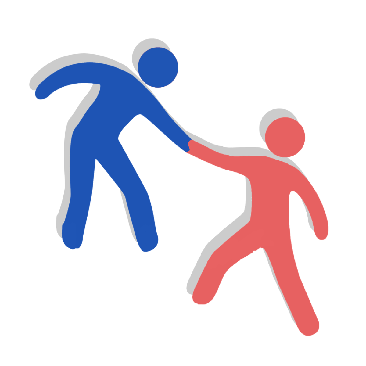 Two human icons - one blue and the other red. The red icon is helping the blue icon, holding hands.