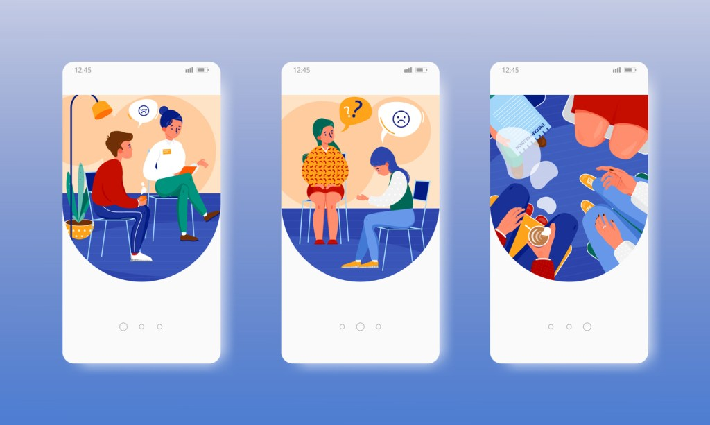 Online support group: Three white mobile phone screens showing images of group therapy on blue background.